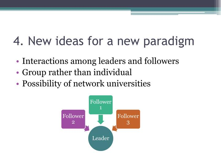 4. New ideas for a new paradigm