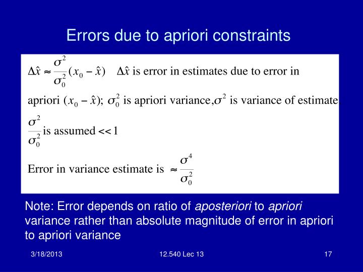 Errors due to apriori constraints