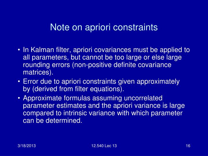 Note on apriori constraints