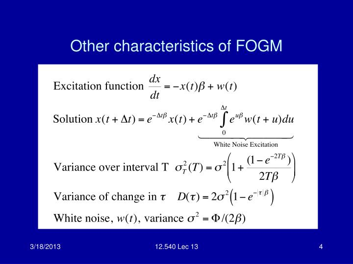 Other characteristics of FOGM