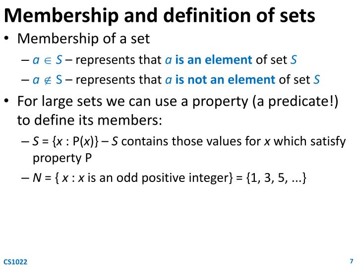 Membership and definition of sets