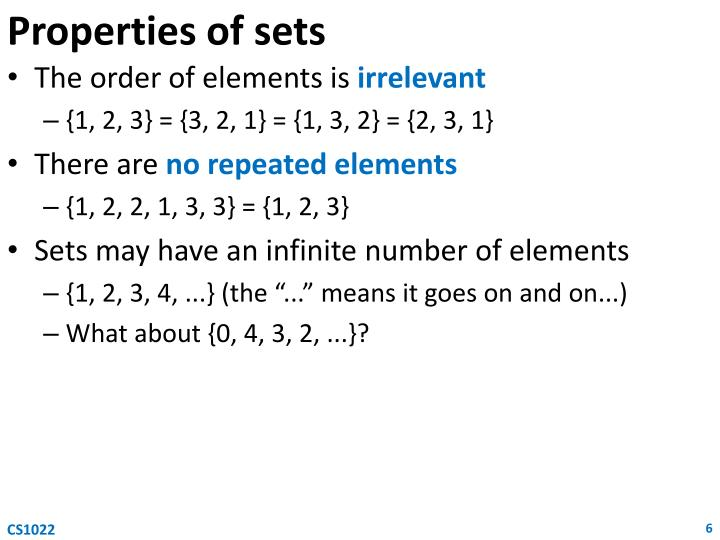 Properties of sets