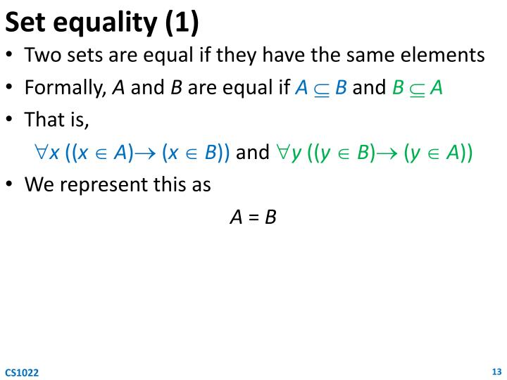Set equality (1)