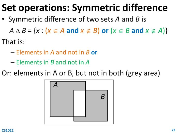 Set operations: Symmetric difference