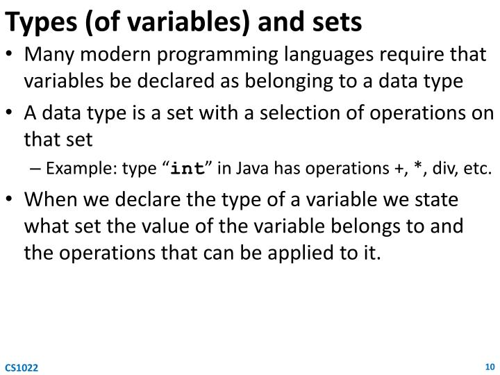 Types (of variables) and sets