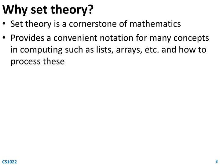 Why set theory?