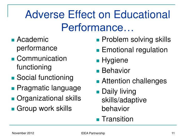 Adverse Effect on Educational Performance…