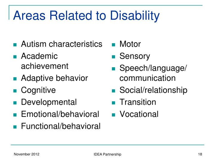 Areas Related to Disability