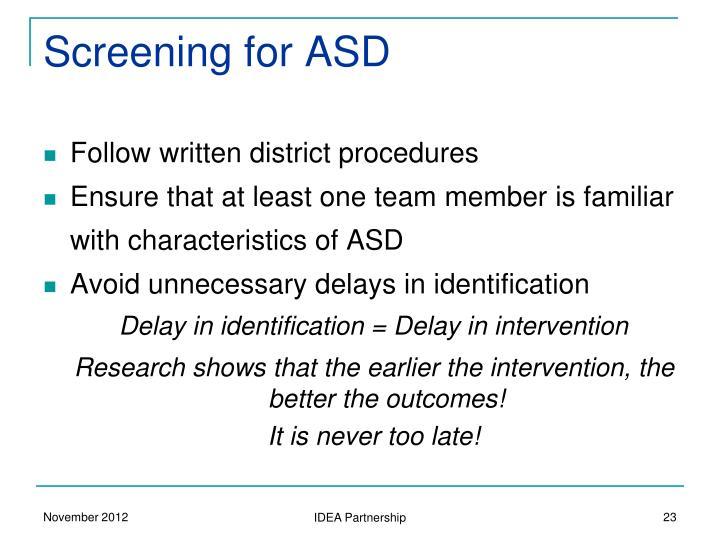 Screening for ASD