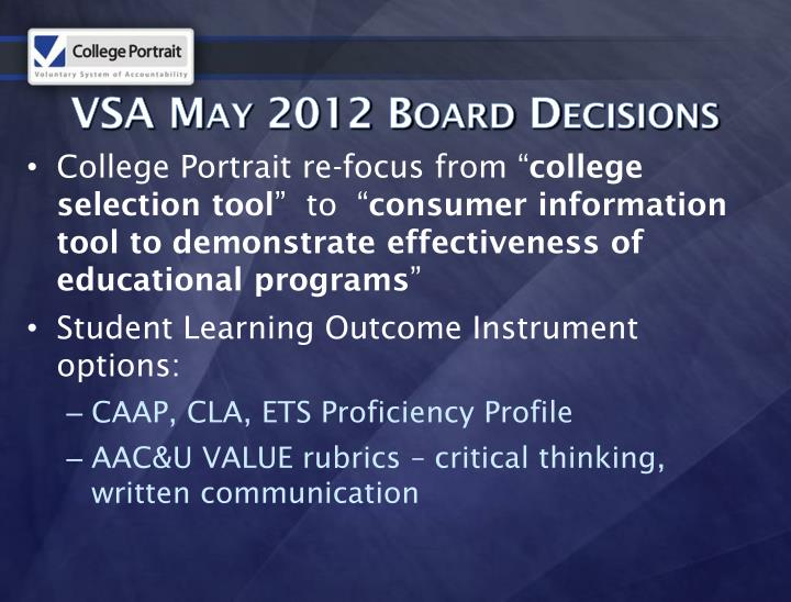 VSA May 2012 Board Decisions