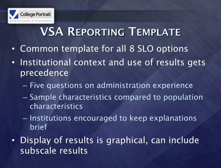 VSA Reporting Template