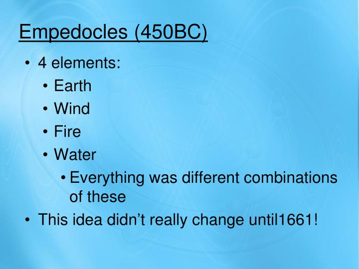 Empedocles (450BC)