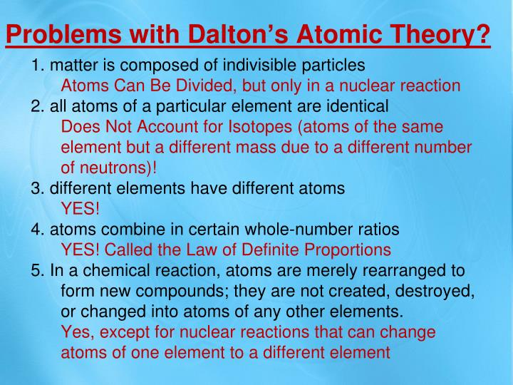 Problems with Dalton's Atomic Theory?