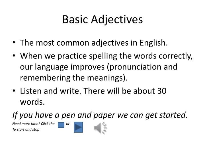 Basic Adjectives