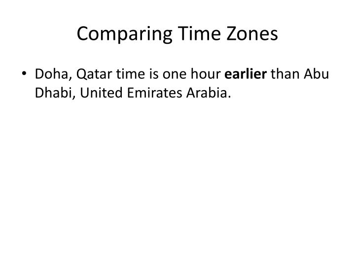 Comparing Time Zones