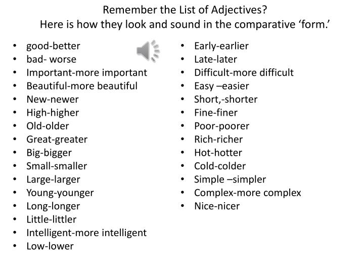 Remember the List of Adjectives?