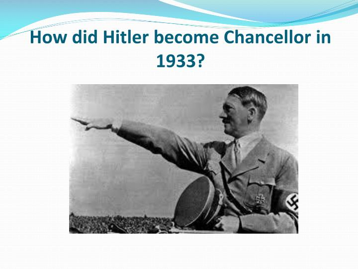 why was hitler appointed chancellor in