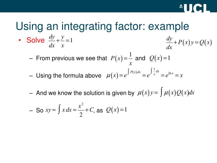 Using an integrating factor: example