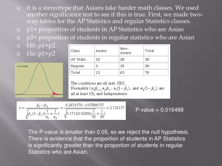 It is a stereotype that Asians take harder math classes. We used another significance test to see if this is true. First, we made two-way tables for the AP Statistics and regular Statistics classes.