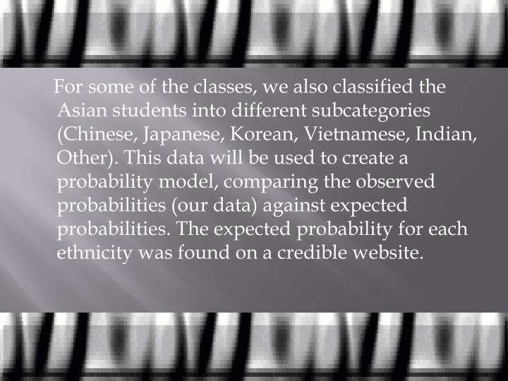 For some of the classes, we also classified the Asian students into different subcategories (Chinese, Japanese, Korean, Vietnamese, Indian, Other). This data will be used to create a probability model, comparing the observed probabilities (our data) against expected probabilities. The expected probability for each ethnicity was found on a credible website.