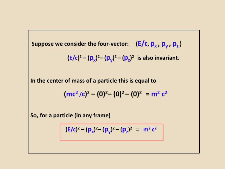 Suppose we consider the four-vector:     (