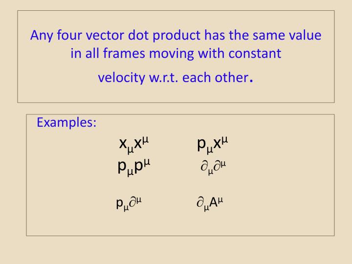 Any four vector dot product has the same value