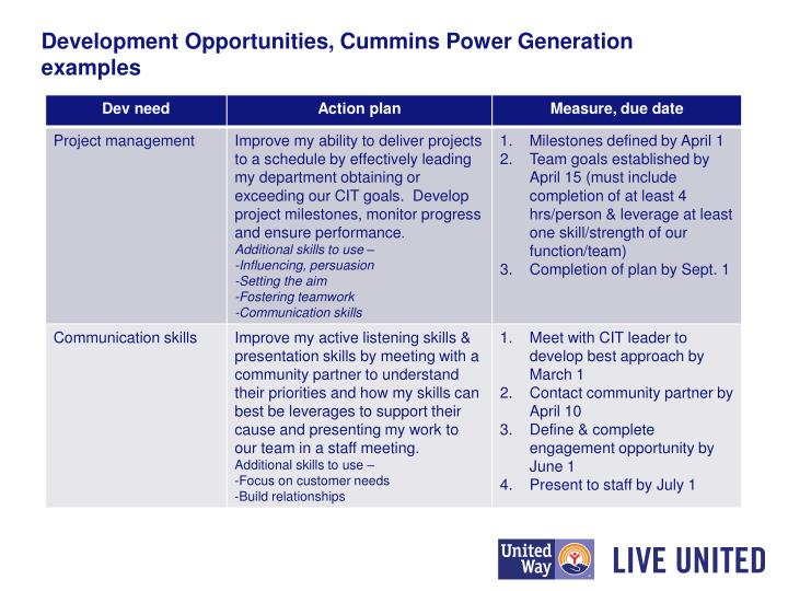Development Opportunities, Cummins Power Generation examples
