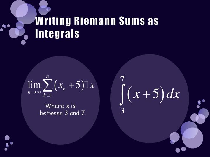 Writing Riemann Sums as Integrals
