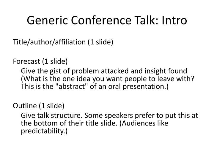 Generic conference talk intro