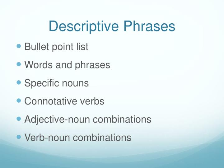 Descriptive phrases
