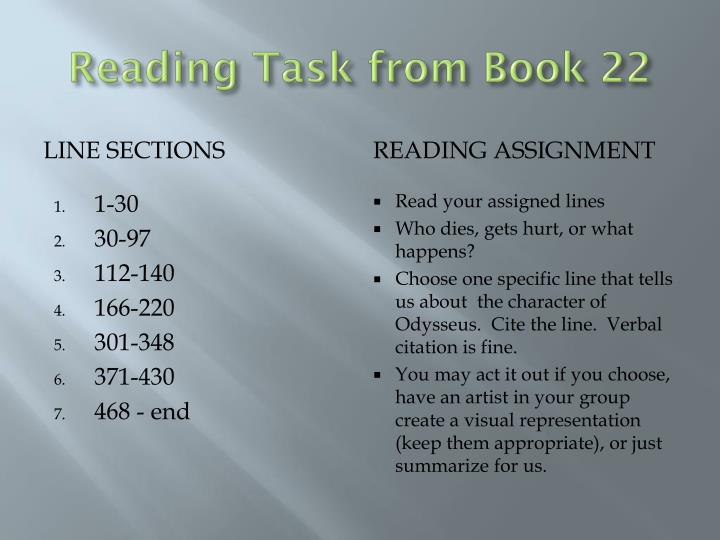 Reading Task from Book 22