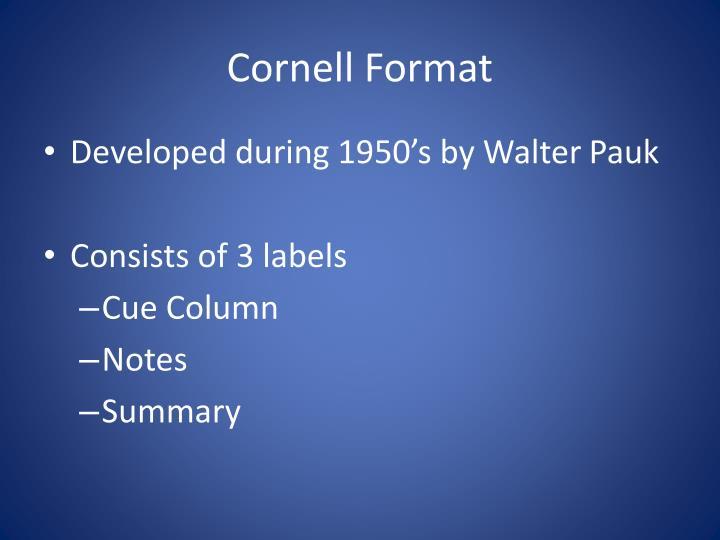 Cornell Format