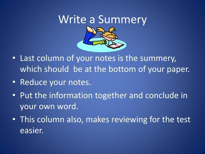 Write a Summery