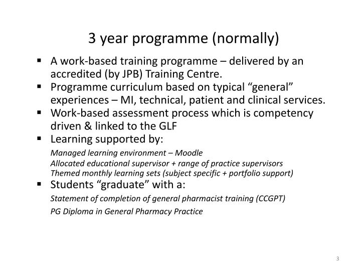3 year programme (normally)
