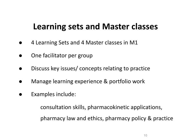 Learning sets and Master classes