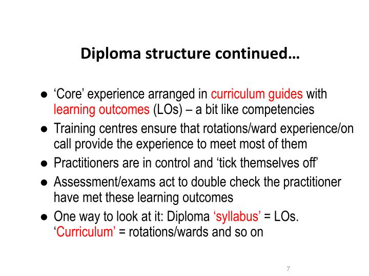 Diploma structure continued…
