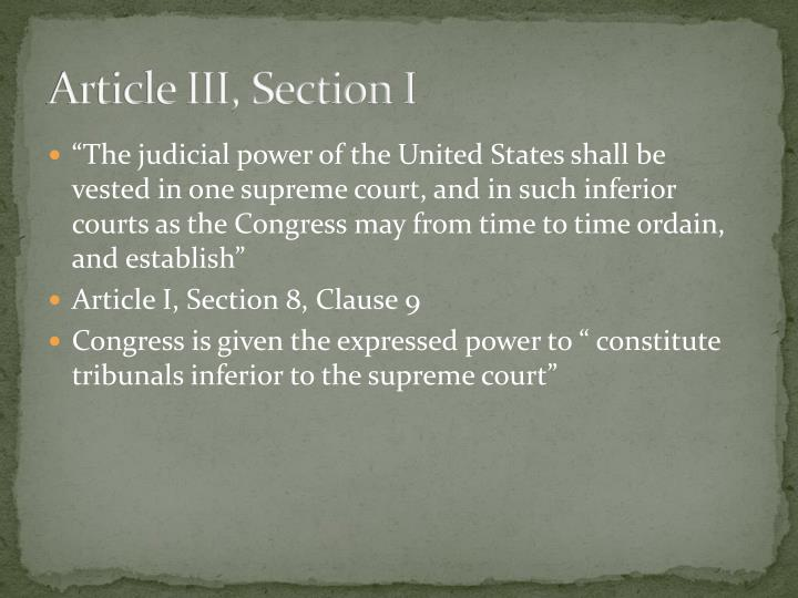 Article iii section i