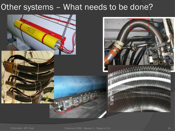 Other systems – What needs to be done?