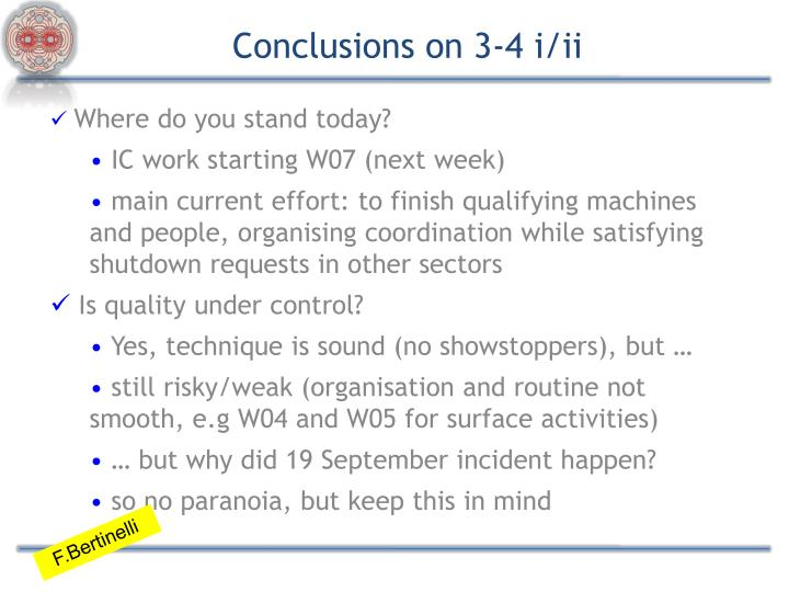 Conclusions on 3-4 i/ii