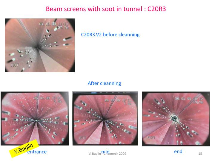 Beam screens with soot in tunnel : C20R3