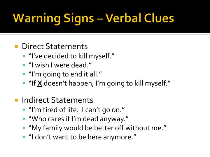 Warning Signs – Verbal Clues