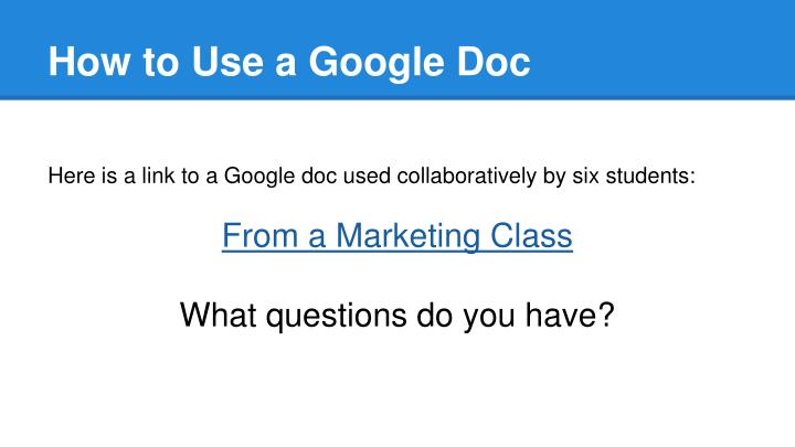 How to Use a Google Doc