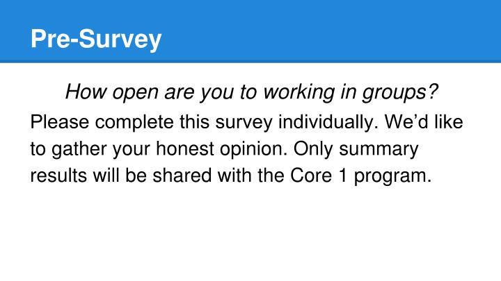 Pre-Survey