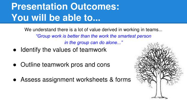 Presentation outcomes you will be able to
