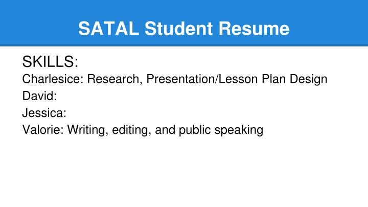 SATAL Student Resume