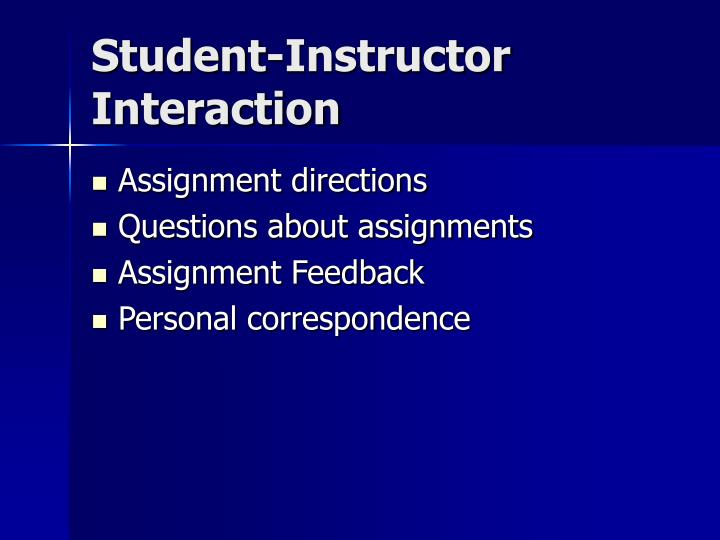 Student-Instructor Interaction