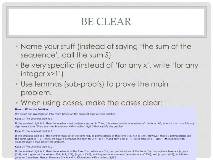 Be clear
