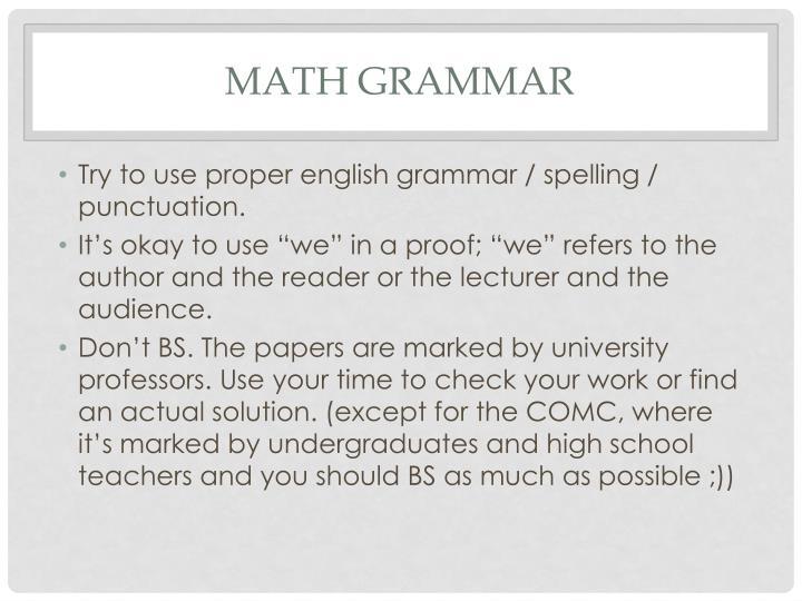 Math grammar