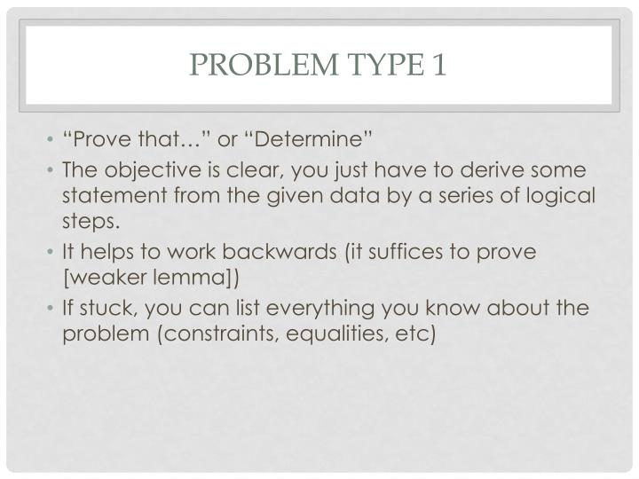 Problem type 1