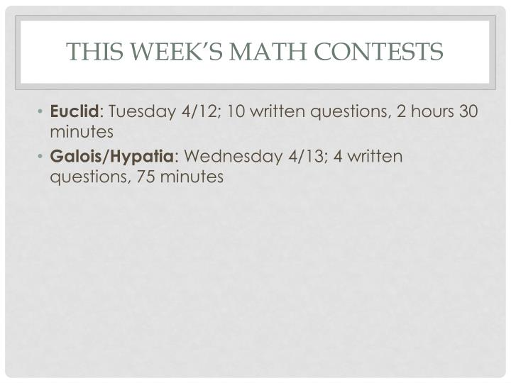 This week's math contests